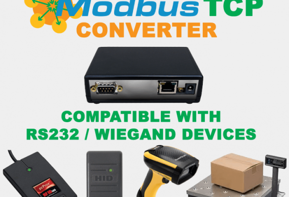 RS-232 ASCII / Wiegand Converter to Modbus-TCP